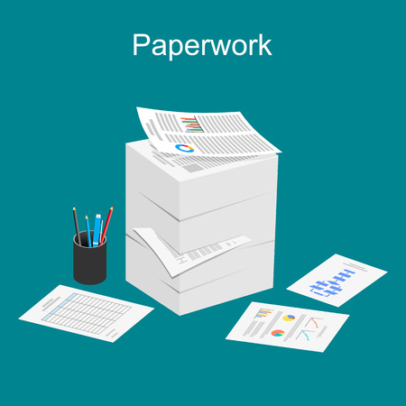 office chaos: Paperwork illustration. Stack of paper illustration.