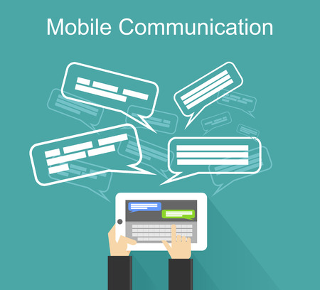 mobile communication: Mobile communication illustration. Social network. Chatting. Communication. Messaging.