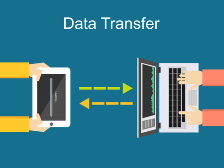 Data transfer illustration. Communication between two devices illustration.  イラスト・ベクター素材