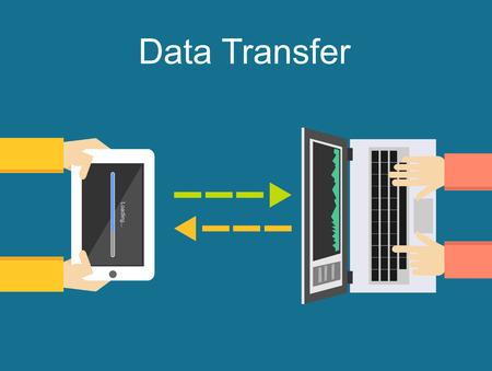 Data transfer illustration. Communication between two devices illustration. Stock Illustratie