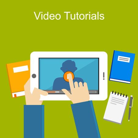 education icons: Video tutorials illustration.