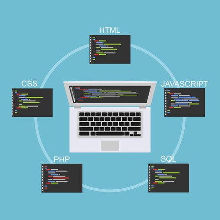 programming: Web development illustration. Flat design. Banner illustration of web development concept. . Flat design illustration concepts for analysis, working, brainstorming, coding, programming, and teamwork.