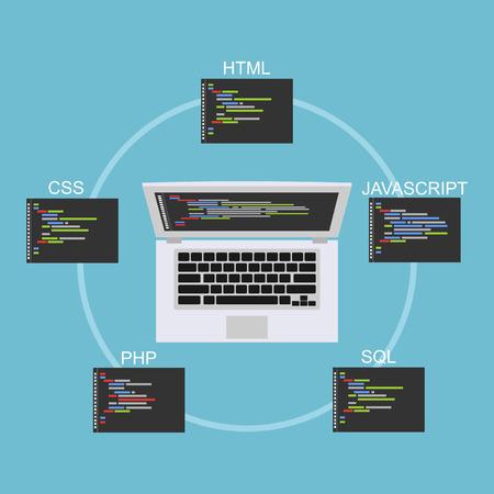 Web development illustration. Flat design. Banner illustration of web development concept. . Flat design illustration concepts for analysis, working, brainstorming, coding, programming, and teamwork. Vektorové ilustrace