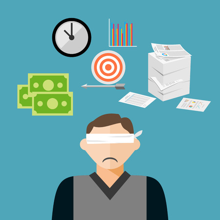 Blindfold businessman has many targets.