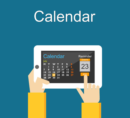 Calendar application on mobile phone. Reminder concept. Add agenda on calendar application. Иллюстрация