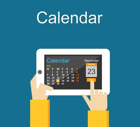 Calendar application on mobile phone. Reminder concept. Add agenda on calendar application. Illustration