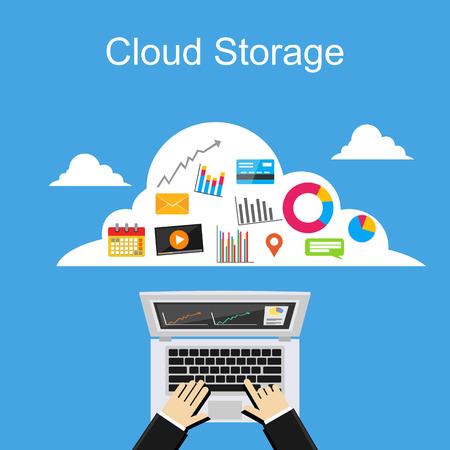 Cloud storage concept illustration. Stock Illustratie