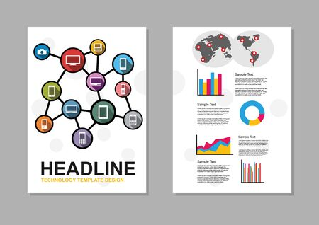 information design: Set of flyer design template. Information technology infographic elements. IT background. Brochure template. Illustration