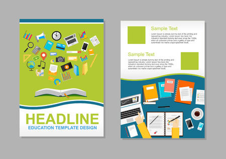 onderwijs: Set flyer design template. Onderwijs infographic elementen. Brochure sjabloon.