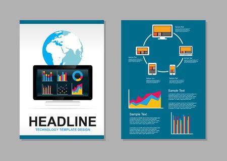 it background: Flyer design template. Information technology infographic elements. IT background. Brochure template. Illustration