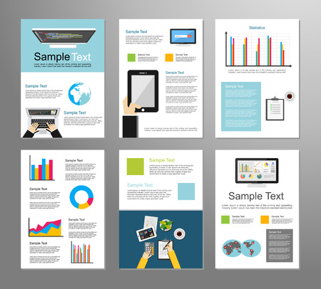 Set Of Flyer Design Template Information Technology Infographic - Information brochure template