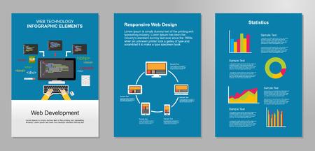 Information technology infographic elements. Web development background.  IT background. Brochure template. Set of flyer design template.