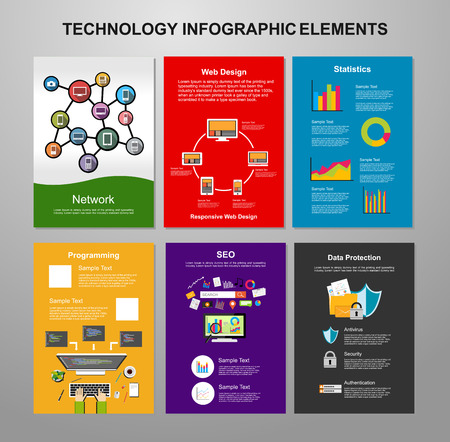 it technology: Information technology infographic elements. IT background. Brochure template. Set of flyer design template.