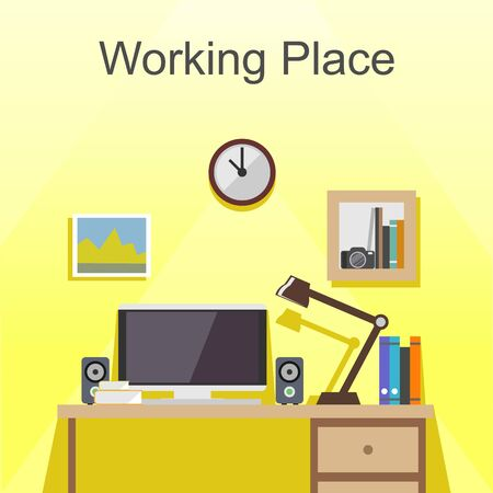 working place: Working place or studying place illustration. Banner illustration. Flat design illustration concepts for working place at office, working place at home, workspace, workplace,  studying place.
