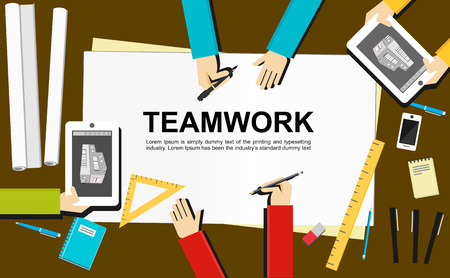 projects: Teamwork illustration. Teamwork concept. Flat design illustration concepts for teamwork, team, meeting, drawing, architecture, business, analytics, analysis, brainstorming, planning.