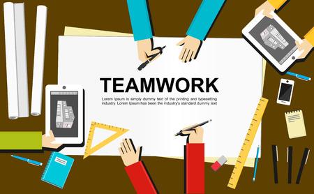 project management: Teamwork illustration. Teamwork concept. Flat design illustration concepts for teamwork, team, meeting, drawing, architecture, business, analytics, analysis, brainstorming, planning.
