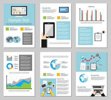 ビジネス インフォ グラフィック要素。事業の背景。パンフレットのテンプレート。チラシ デザイン テンプレートのセットです。