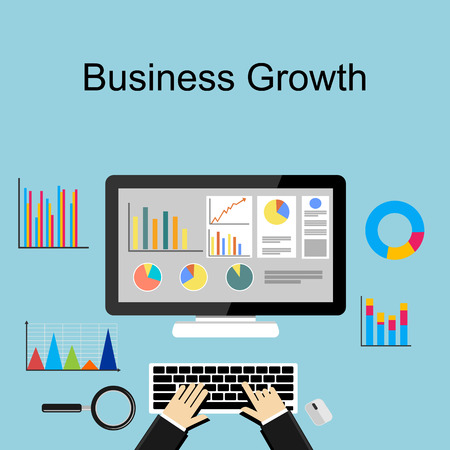 Business growth concept illustration. Çizim