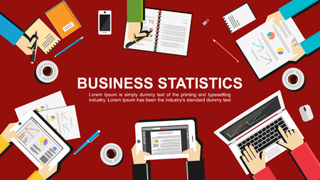 financial occupation: Business statistics concept illustration. Teamwork concept. Flat design illustration concepts for teamwork, meeting, business, finance, career, analytics, analysis, brainstorming, planning.