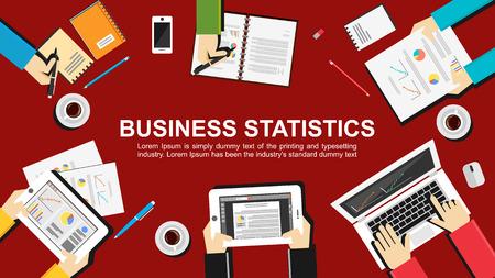 Business statistics concept illustration. Teamwork concept. Flat design illustration concepts for teamwork, meeting, business, finance, career, analytics, analysis, brainstorming, planning.