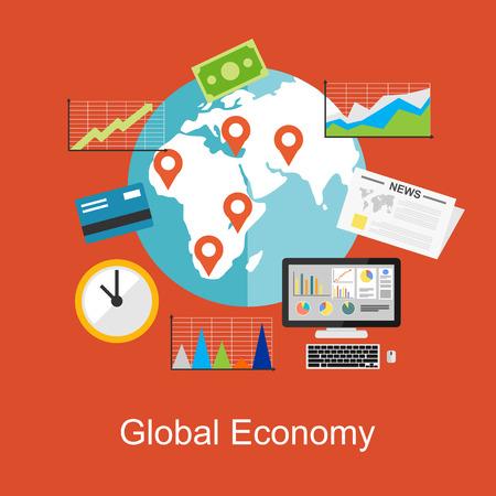 financial adviser: Flat design concepts for global economy, world economy, marketing analytic.