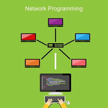 debug: Network programming concept illustration.