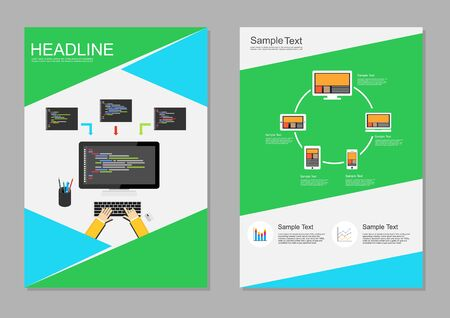 it technology: Flyer design template. Information technology infographic elements. IT background. Programming background. Brochure templates. Illustration