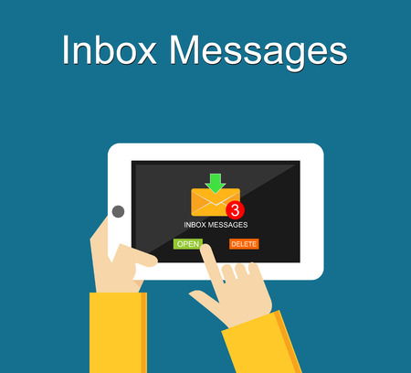 inbox: Inbox messages notification on mobile phone concept. Illustration
