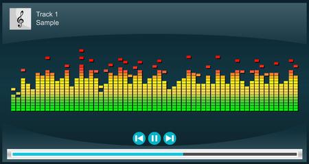 portable mp3 player: Music player illustration. Music player interface on phone screen illustration. Media player concept. Illustration