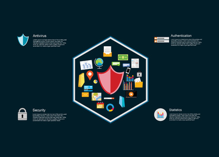 information systems: Information technology infographic elements. IT background. Data protection. Internet security. Illustration