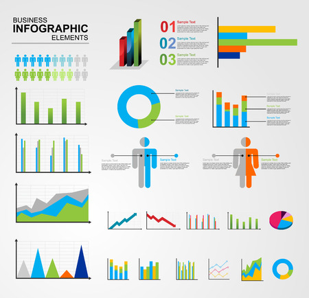 population growth: Business infographics elements. Graphs icons. Illustration