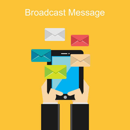 broadcast: Broadcast message concept. Flat design.