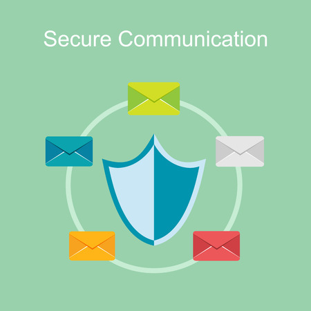 communication concept: Secure communication concept illustration. Illustration