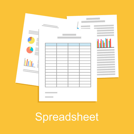 financial reports: Spreadsheet concept illustration. Business background.