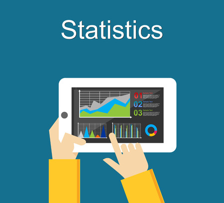 analyze: Statistics illustration. Business statistics analyze. Monitoring business statistics on mobile phone. Illustration