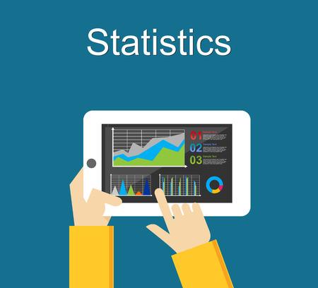analyse: Statistics illustration. Business statistics analyze. Monitoring business statistics on mobile phone. Illustration