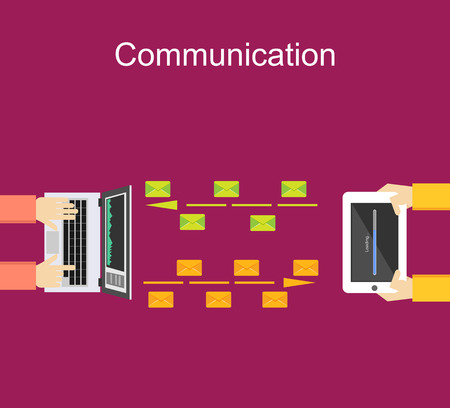 communication concept: Communication illustration concept. Data transfer concept. Communication between devices. Sending file concept illustration. Wireless communication.