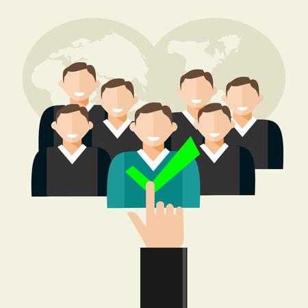 recruter: Recrutement illustration. Appartement concepts conception d'illustration pour les ressources humaines, de trouver, de recruter employ� candidats.