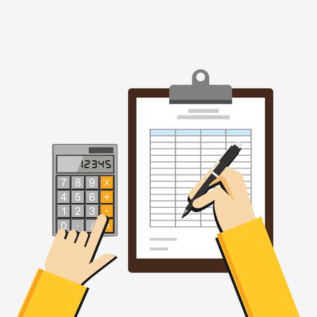 Flache Darstellung der Steuerbeleg, Tabellenkalkulation, Budgetplanung, Marktanalyse, Finanzbuchhaltung. Standard-Bild - 44039333