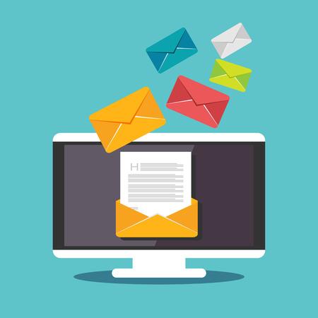 correo electronico: Ilustraci�n de correo electr�nico. Enviar o recibir correo electr�nico concepto ilustraci�n. dise�o plano. Correo de propaganda. Vectores