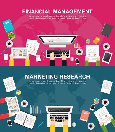 Bandera para la gestión financiera y la investigación de mercados. conceptos de diseño ilustración planas para las finanzas, gestión empresarial, análisis, marketing, solución de negocios, trabajo en equipo, estadísticas de las empresas, el plan