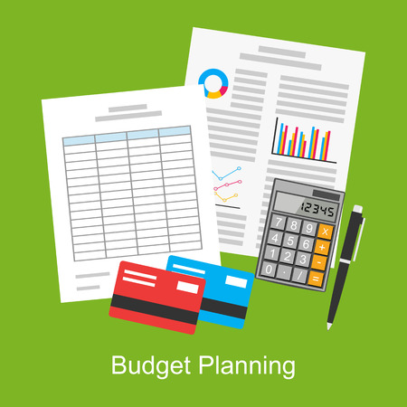 taxes budgeting: Flat illustration of budget planning, market analysis, financial accounting, spreadsheet.
