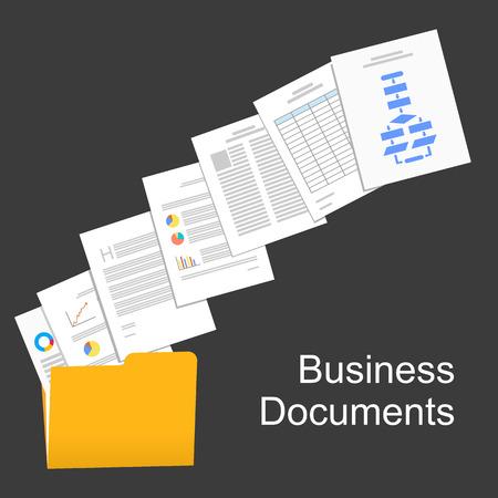Płaski projekt ilustracji dokumentów biznesowych, raport biznesowy, dokumenty handlowe, pracy, zarządzania.