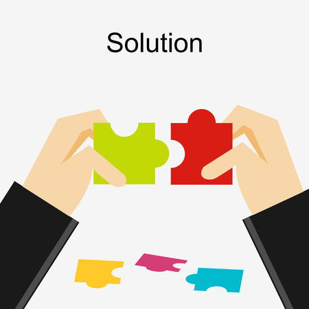 define: Create a solution illustration. Making a solution concept. Business people with puzzle pieces. Flat design illustration concepts for business, career, strategy, decision making. Illustration