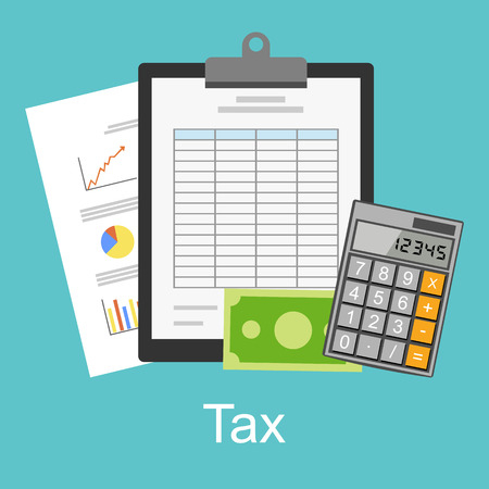 financial figures: Tax or spreadsheet concept illustration. Illustration