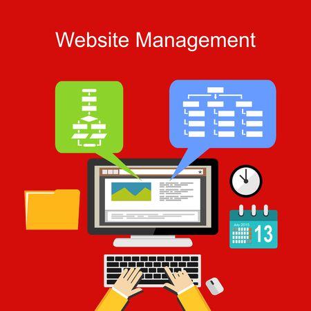 website design: Website management illustration concept. Flat design. Illustration