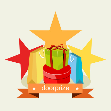 wrap vector: Door prize. Prize Gift concept.