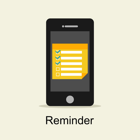 reminder icon: Reminder concept. Reminder application on mobile phone.
