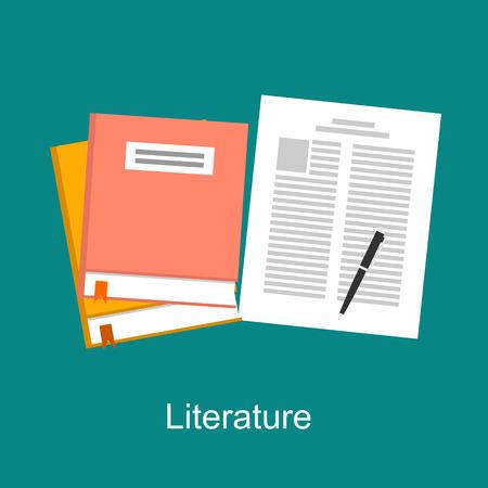 research paper: Literature illustration concept. Flat design. Illustration