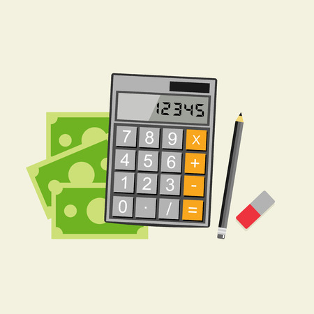 Accounting concept. Budget calculation concept. Stock Illustratie
